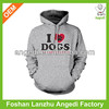 "popular ""I love dogs"" print mens pullover hoodie"