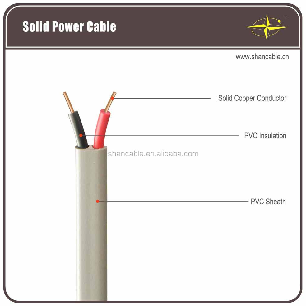 pvc insulated copper wire non-flexible flat cable / electrical wire flat cable