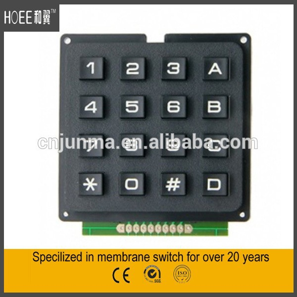 4x4 plastic rubber numeric keyboard with pcb