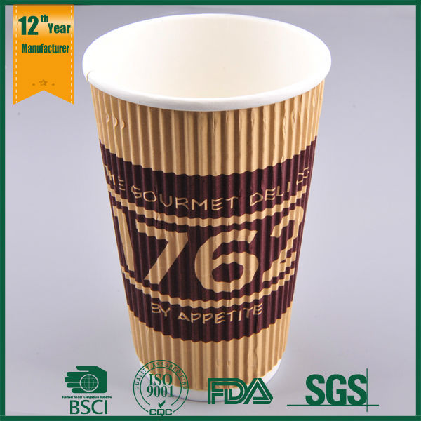 Customized Printed Sleeve Ripple Paper Cup for Hot Drink