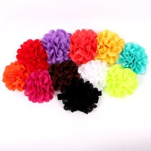 Wholesale Satin Ribbon Roses Flower Baby Hair Bows With Elastic Headband