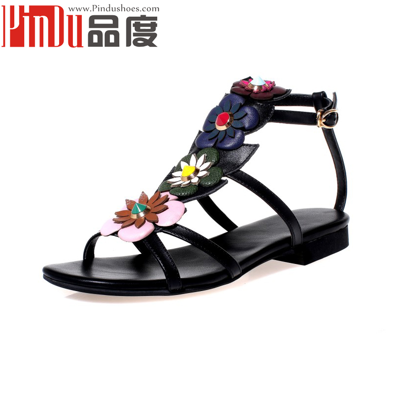 italian pure leather shoes Sweet Women Bohemia Flower beach sandal Flat Sandals for ladies pictures