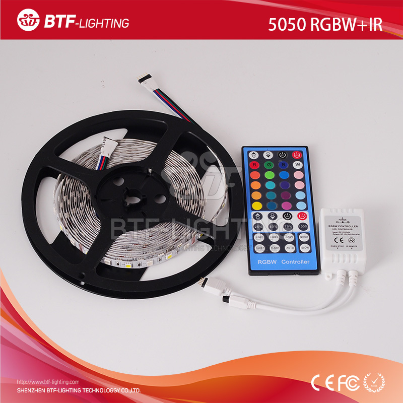 5m 5050 RGBW led strip 60leds/m White PCB RGB+Warm White led strip Non-Waterproof IP30 DC12V SMD 5050 with IR remote