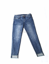Factory Price Comfortable DK.BLUE ENZYME STONE BLEACH WASH blue Europe women denim jeans