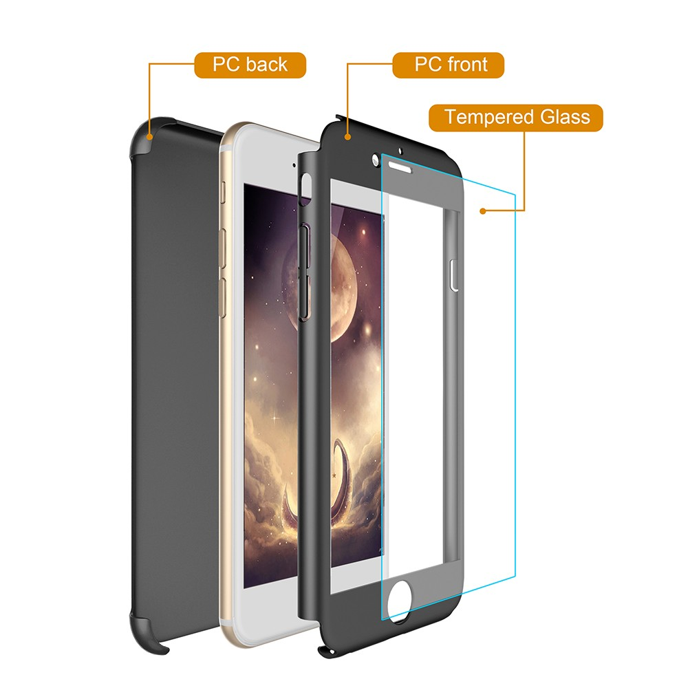 Factory price wholesale 360 phone case for iphone 7 7 plus degree case with tempered glass