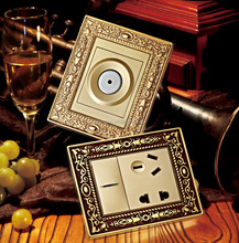 Brass Decorative Wall Electric Switches and Sockets With Customized Service