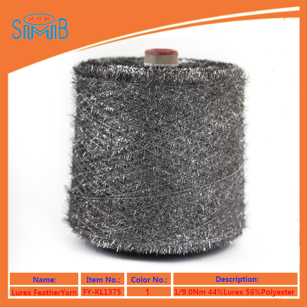 factory wholesale polyester lurex feather yarn on cone for machine knitting sweater