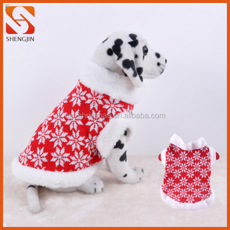 Snow Cheap Dog Coat Round Collar Pet Knitted Clothes without Sleeves