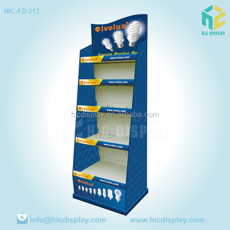 Unique Printed Advertising Cardboard Light Bulb Display Cases, POP Up Light Bulb Display Stand