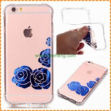 High Quality 3D Relief Painted Pattern Butterfly flower clear transparent tpu case for iphone 7