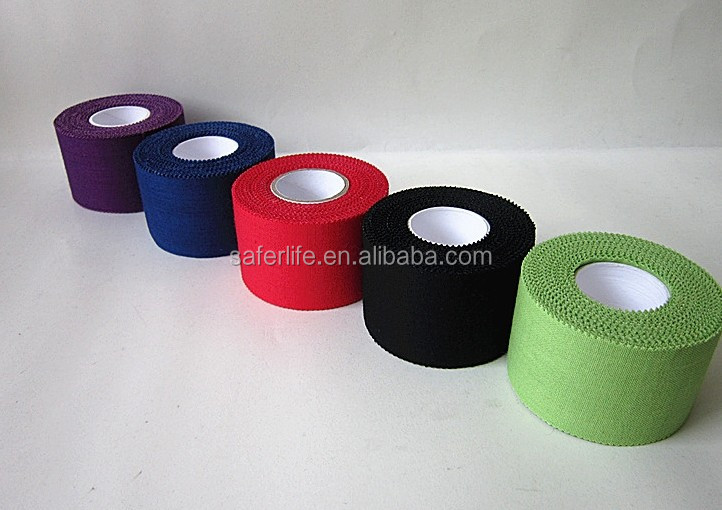 2015 wholesale Tearable medical adhesive printed rigid strapping tape colored rigid tape printed rayon sports tape