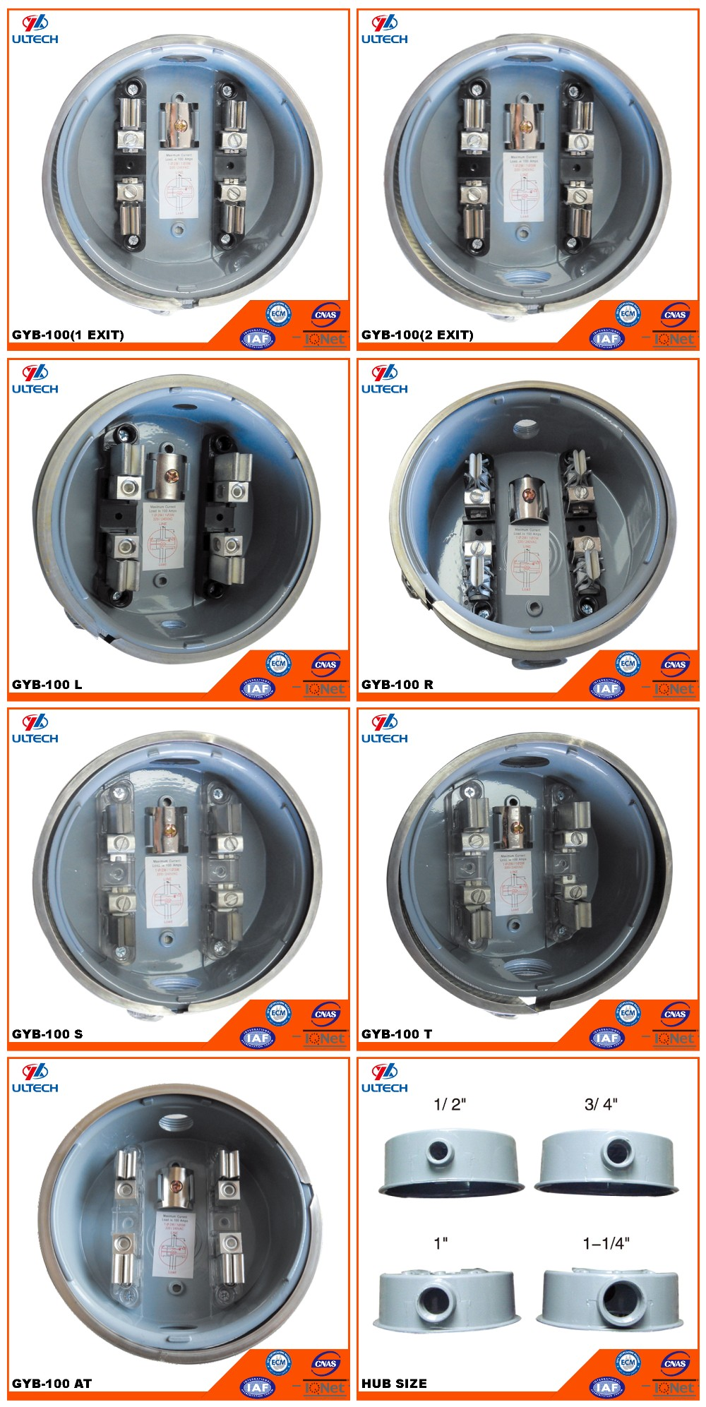 Hot sale 100A Aluminum Round Single Phase Energy Meter Socket
