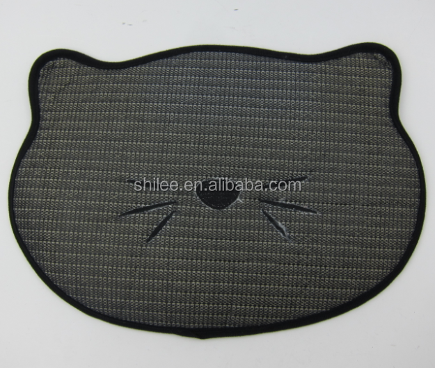 Non skid cat shape Pet feeding food mat for pet training