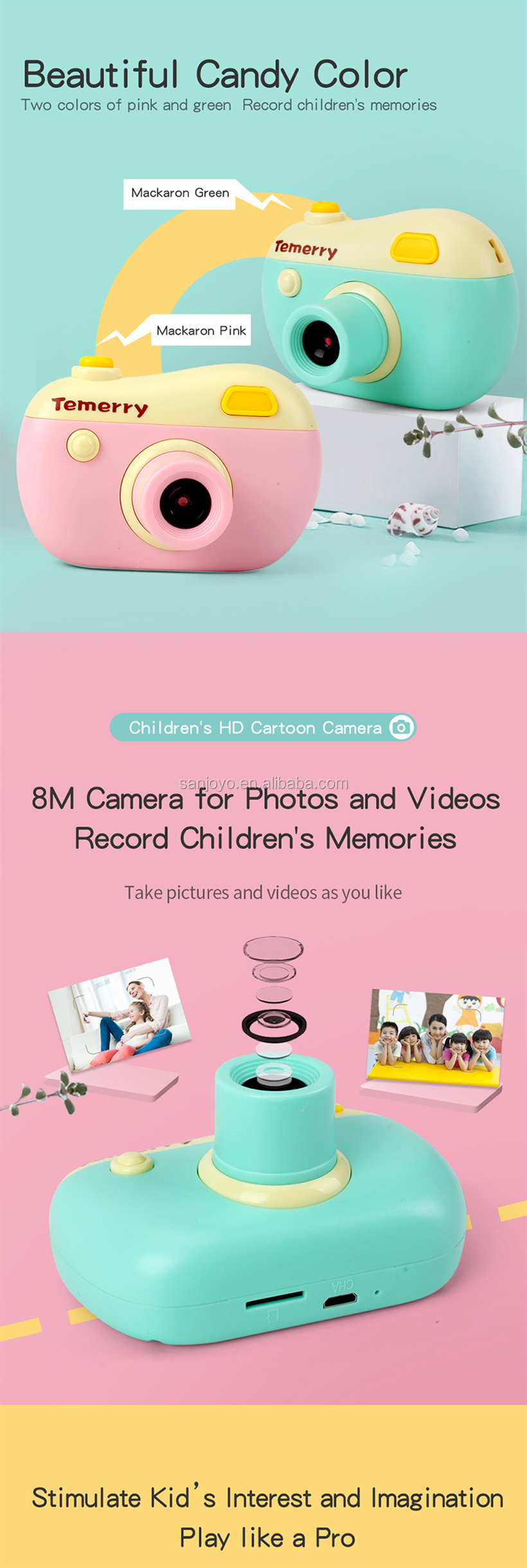 Factory Price SJY-V01 8MP Video And Photo camera Toys For Kids
