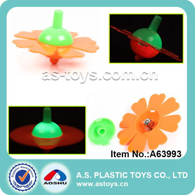 Flashing plastic mini spinning top toy with light
