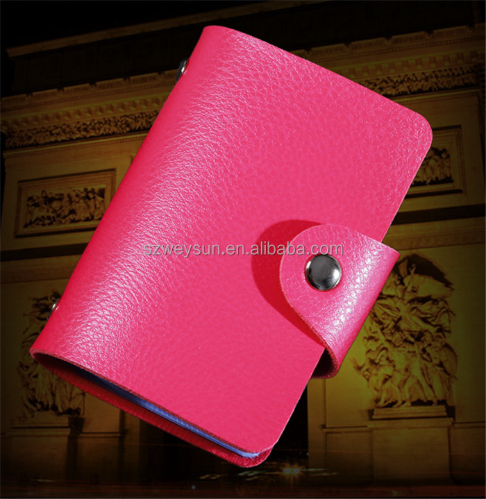 Hot Sale 24 Bits Quality PU Leather Fashion Credit Card Holder ID Holders Package Organizer For Women Men