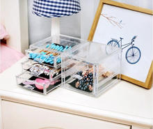 Factory direct acrylic tranparent drawer type makeup case organizer cosmetic display storage box with dividers