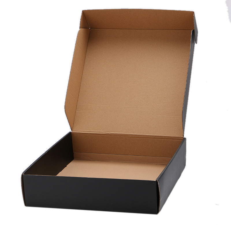 Factory custom matte black embossing logo foldable corrugated shipping box wholesale