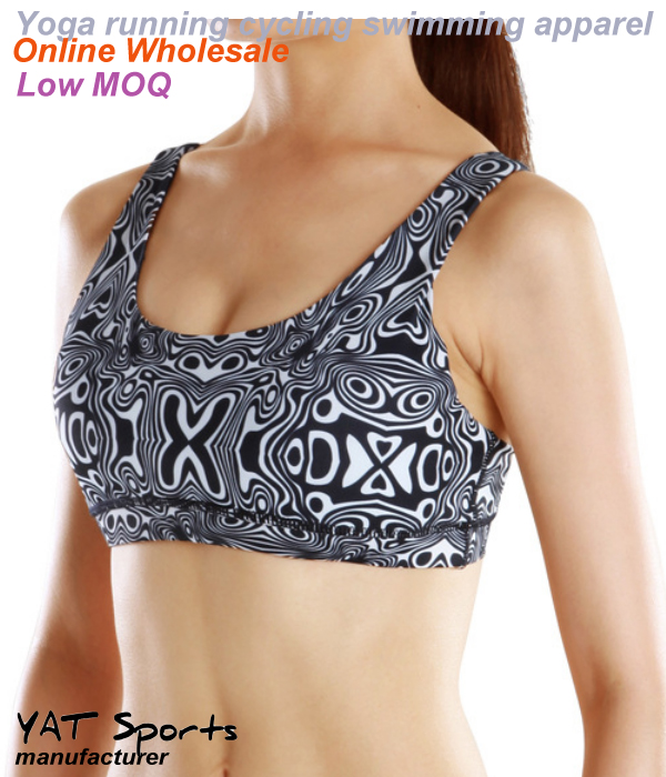 Low MOQ wholesale sublimation printed dry fit ladies sports yoga bra
