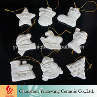 DIY Gift Unglazed Bisque Ceramic Christmas Ornaments To Paint