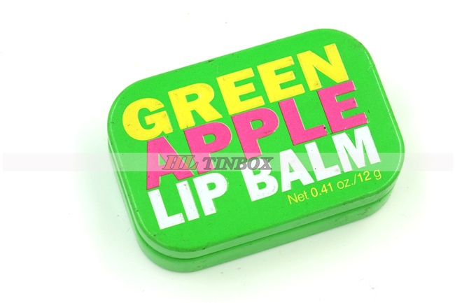 Small Cute Rectangular Cosmetics Lip Balm Metal Tin Box with Hinged