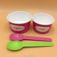 Custom Printed 12 oz Disposable Ice Cream Paper Gelato Cups With Dome lid Spoon