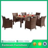 Rattan furniture teak dining table set 102073