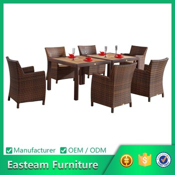 Rattan furniture teak dining table set 102073