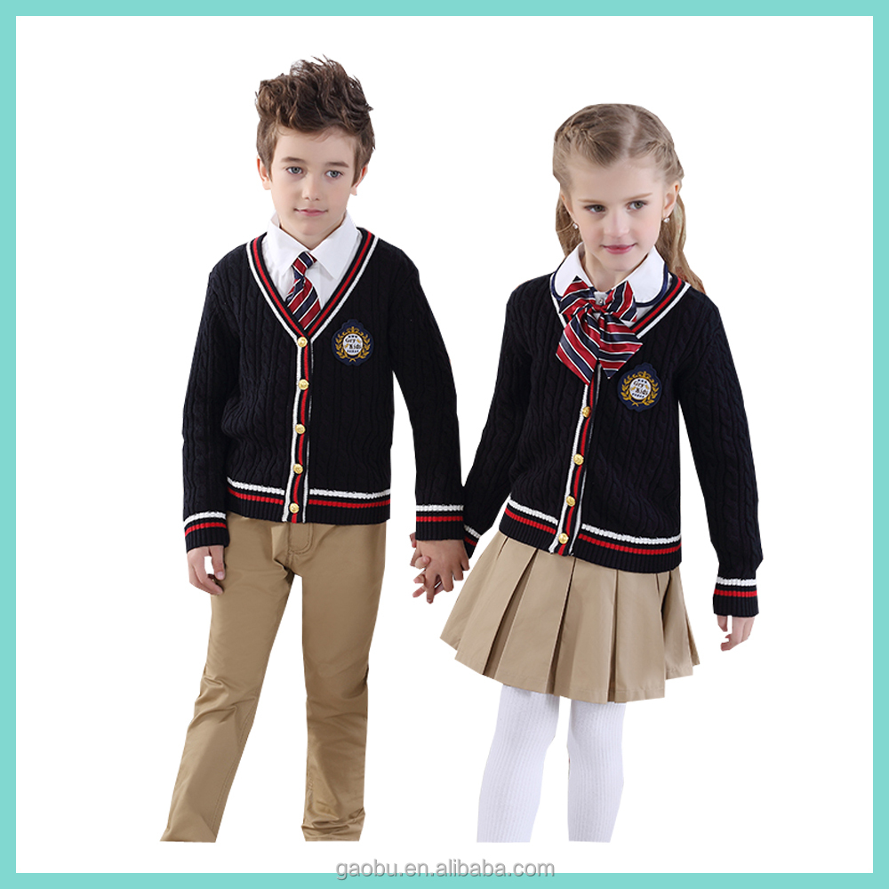China Manufacturers Winter Primary School Uniform Cardigan
