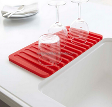 kitchen sink Silicone Drying Glass Drainer Mat, Dish Drainer Mat