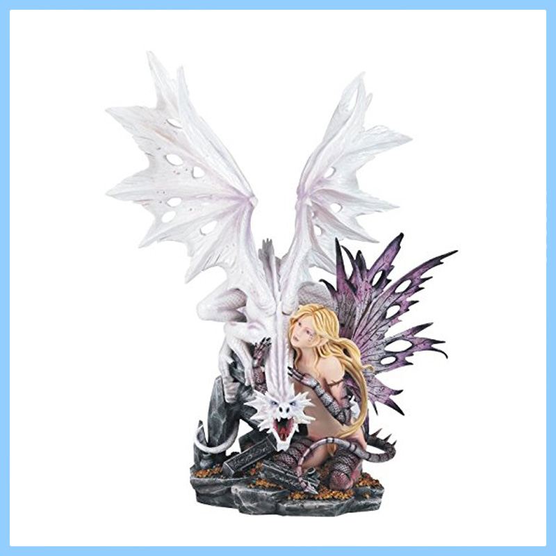 Hot Sale Resin Dragon Evil Figurine with Sexy Fairy Girl