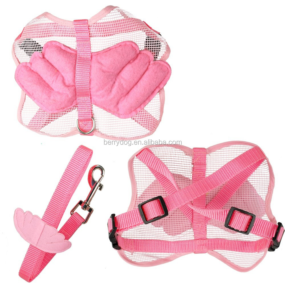 Pet Dog Cat Soft Adjustable Nylon Mesh Angel Wing Harness&Leash Set Blue Pink