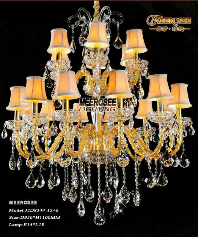 18 Lights murano venetian style gold crystal chandelier lusters light free shipping MD8344-L12+6