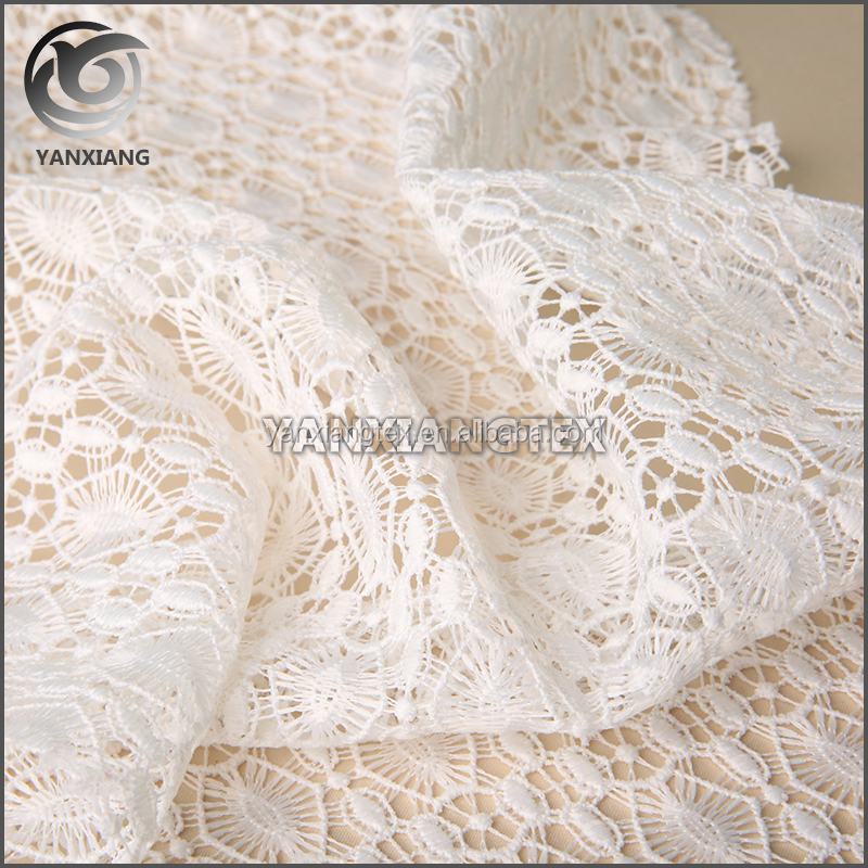 White 100% polyester embroider chemical guipure lace fabric