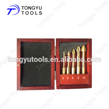 Wood Case 5PCS Set Hex Shank Drill Bits For Ceramic Tiles