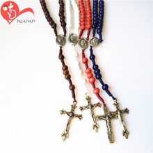 Different colors custom design hot sale wooden beads bulk cord rosaries