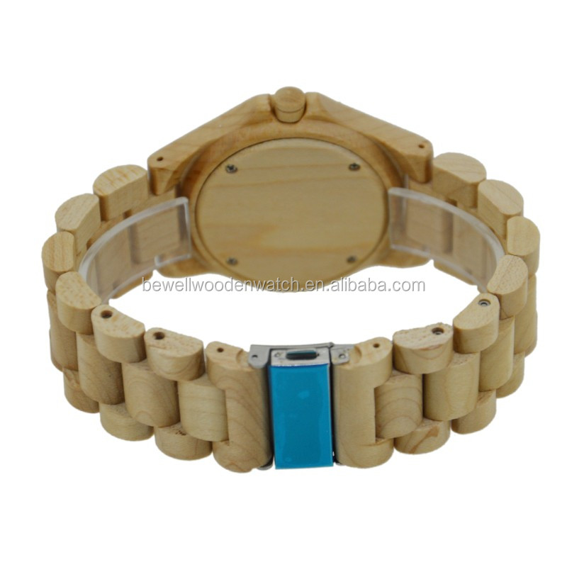 The Newest Vogue Popular 100% Eco-friendly Wooden watch with Red Sandalwood&Maple Case and Curve Band