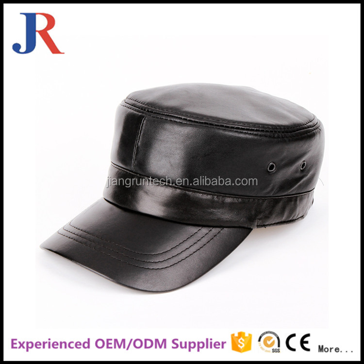 china factory new design high quality military style flat bill cap wholesale leather hats