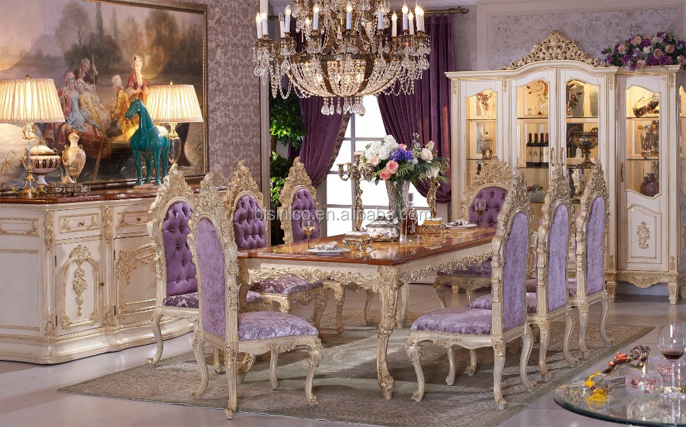 Baroque Antique Style Italian Dining Table, 100% Solid Wood Italy Style Luxury Dining Table Set