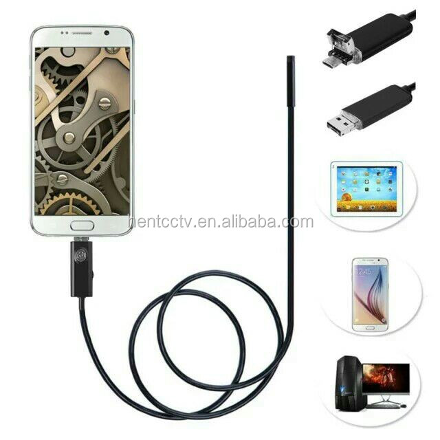 Waterproof 3.5M 7mm Android Endoscope 6LED Inspection Tube Video Camera Mini USB Snapshot Butto Endoscope For Android Phone PC