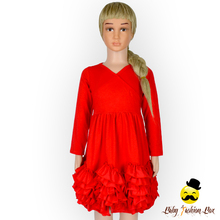 Latest Party Wear Red Cotton Ruffles Baby Girls Dresses New Fall Winter Designs Dresses For Girls