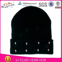 100 wool 2015 fashion studs knit beanie winter hat