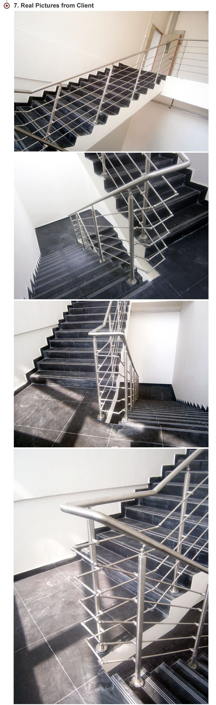 Outdoor Metal Stair Railing / Curved Stair Railing Kits / Stainless Steel  Handrail