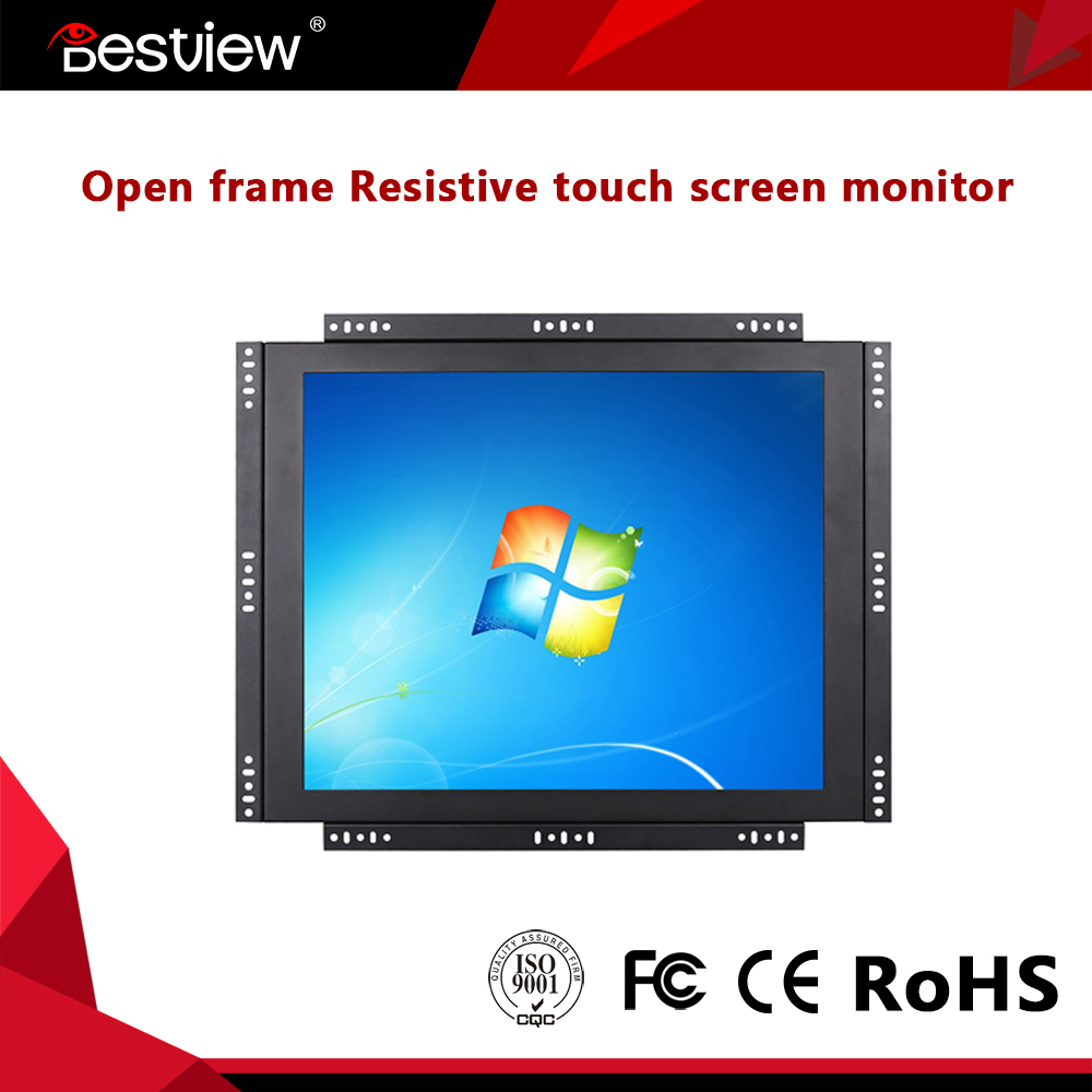 "HQ 15"" inch 4 wires resistive POS touch screen LCD monitor"