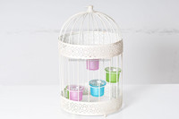 1A251-L GRAY/WHITE CAGE CANDLE HOLDER/LANTERN WITH 5 GLASSES
