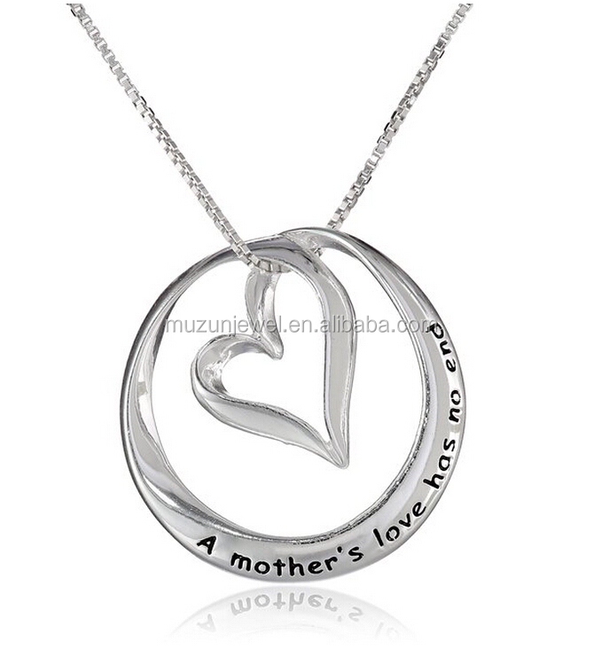 Personalized engraved A Mothers Love Has No End circle 925 sterling silver pendant necklace