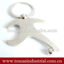 Football player shaped metal keychain for sports gift