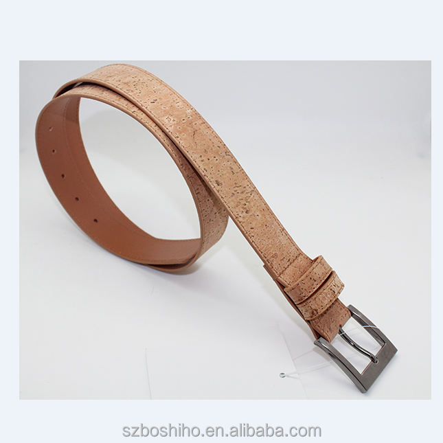 Boshiho cork fabric leather belt with stainless steel buckle men cork belt