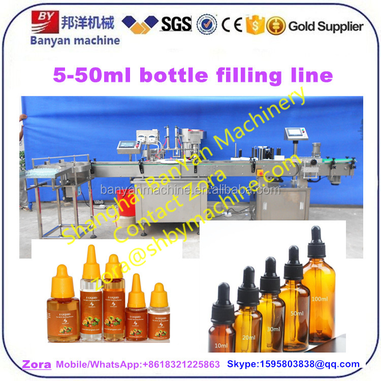 Fully Automatic e liquid essential oil bottle filling capping and labeling machine line Shanghai factory direct price 135