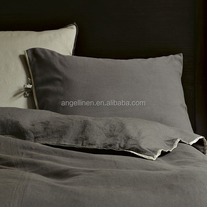 Best selling pure linen bedding sheet set/duvet cover set with stone washing with ties closure